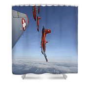 Swiss Air Force Display Team, Pc-7 Shower Curtain