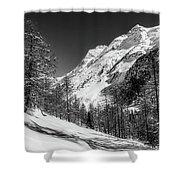 Swiss Winter Mountains Shower Curtain