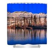 Talbot Lake Afternoon Panorama Shower Curtain