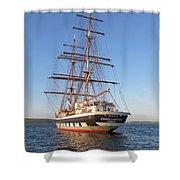 Tall Ship Anchored Off Penzance Shower Curtain
