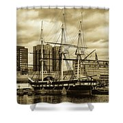 Tall Ship In Baltimore Harbor Shower Curtain