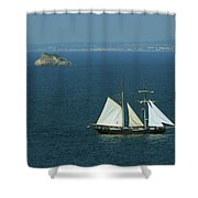 Tall Ship Passing Thatcher's Rock, Torbay Shower Curtain