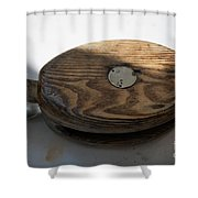 Tall Ship Wooden Line Block Shower Curtain