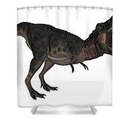 Tarbosaurus Dinosaur Roaring, White Shower Curtain