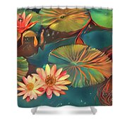 Teal Waterlilies 8 Shower Curtain