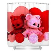 Teddy Bearz Valentine Shower Curtain