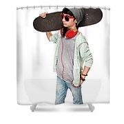Teen Boy With Skateboard Shower Curtain