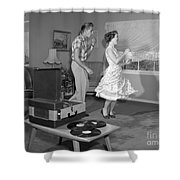 Teen Couple Dancing At Home, C.1950s Shower Curtain