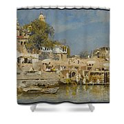 Temples And Bathing Ghat Shower Curtain