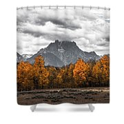 Teton Fall - Modern View Of Mt Moran In Grand Tetons Shower Curtain