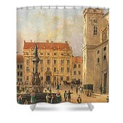 The Austria Fountain On The Freyung In Vienna With Rich Figural Shower Curtain