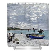 The Beach At Sainte Adresse Shower Curtain by Claude Monet