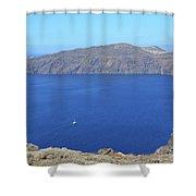 The Beautiful Caldera In Santorini, Greece With The Aegean Sea Shower Curtain