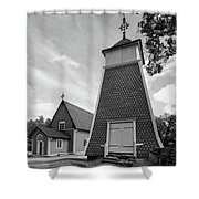 The Bellfry And The Church Of Kustavi Shower Curtain