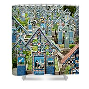 The Blue Cemetery Shower Curtain