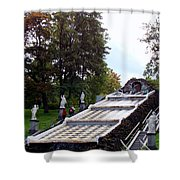 The Chessboard Hill Cascade Fountain On The Grounds Of The Peterhof Palace Shower Curtain