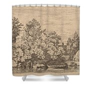 The Cudgel Dam And Covered Bridge Shower Curtain