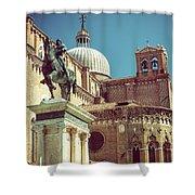 The Equestrian Statue Of Bartolomeo Colleoni In Venice Shower Curtain