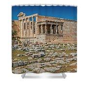 The Erechtheum On The Acropolis, Athens, Greece Shower Curtain