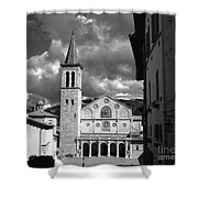 The Facade Of The Duomo With Mosaic And Eight Rose Windows And The Campanile Spoleto Umbria Italy Shower Curtain
