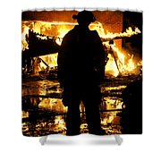 The Fireman Shower Curtain by Benanne Stiens