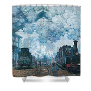 The Gare Saint-lazare Arrival Of A Train Shower Curtain