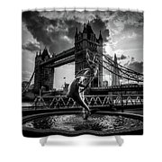 The Girl And The Dolphin - London Shower Curtain