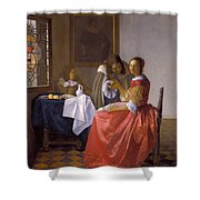 The Girl With A Wineglass Shower Curtain