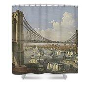 The Great East River Suspension Bridge Shower Curtain