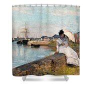 The Harbor At Lorient Shower Curtain