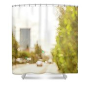 The Hedge By The Sidewalk During Day In The City Of Los Angeles Shower Curtain