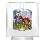 The Holly King And The Oak King Shower Curtain
