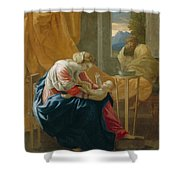 The Holy Family Shower Curtain by Nicolas Poussin