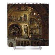 The Interior Of St Marks Basilica Venice Frederick Leighton Shower Curtain