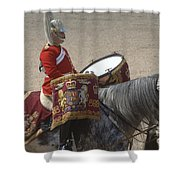 The Kettledrums Of Household Cavalry Shower Curtain by Andrew Chittock
