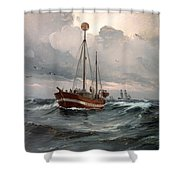 The Lightship At Skagen Reef Shower Curtain