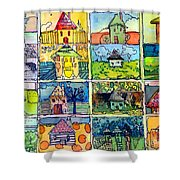 The Little Houses Shower Curtain