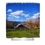 The Log Barn Shower Curtain