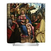 The Madonna And Child With Angels Saints And A Donor Shower Curtain