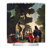The Maja And The Cloaked Men, Or A Walk Through Andalusia Shower Curtain