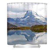 The Matterhorn And Lake Stellisee Shower Curtain