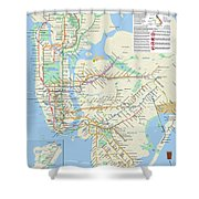 The New York City Pubway Map Shower Curtain