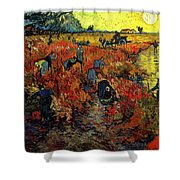 The Red Vineyard At Arles Shower Curtain