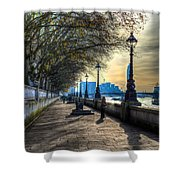 The River Thames Path Shower Curtain
