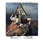The Scene At The Grave H 1859 58h69 Am Gtg Vasily Perov Shower Curtain