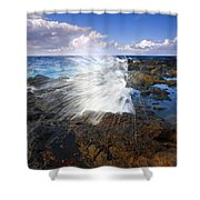 The Sea Erupts Shower Curtain by Mike  Dawson