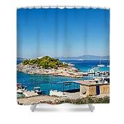 The Small Island Aponisos Near Agistri Island - Greece Shower Curtain