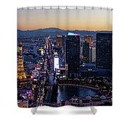 the Strip at night, Las Vegas Shower Curtain