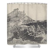 The Temple Of Concord On The Wall, Girgenti Shower Curtain