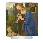 The Virgin Adoring The Child Shower Curtain
